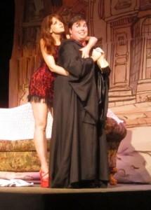 Zorah (Yvette Zaepfel) and Wayne (Nathaniel Jones) enjoy the romance of theatre in BLT's Inspecting Carol
