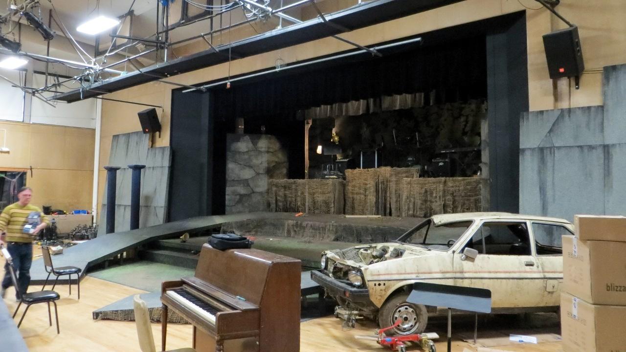 BLT stage construction for Jesus Christ Superstar, Feb. 2, 2013