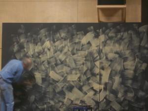 Nathan Rodda applies paint to BLT's Frankenstein set, Sept. 18, 2011