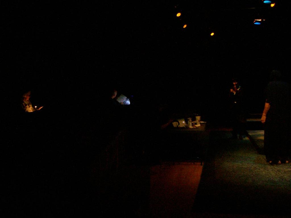 Ana Denton runs lines, Allan Loucks runs sound, as Adrian Cerrato (Victor) and Russ Kay (The Creature) rehearse a scene during a run-through, Sept. 27, 2011