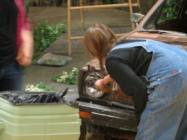 Cyndi and Sharon finish weathering the car. Feb. 9, 2013